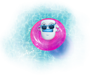 Bit the robot floating in a pool.